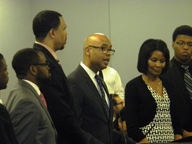 Urban Prep Academy Founder/CEO/President Tim King spoke before the Chicago Board of Education at Chicago Public School headquarters, 42 W. Madison Ave.in Chicago, urging the Board to consider renewing all three of Urban Prep's charters.