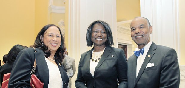 Richmond General District Court Judge Birdie H. Jamison, Chief Deputy Attorney General Cynthia Hudson and 4th U.S. Circuit Court Judge Roger L. Gregory attend an ODBA reception at the state Capitol rotunda Thursday.