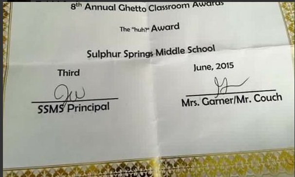 "So This Happened: Texas Teachers Hand Out ""Ghetto"" Award ..."