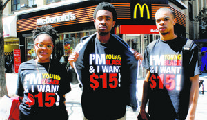 Young McDonald's workers take a stand for increased minimum wage.