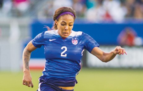 Sydney Leroux, wearing No. 2 for the U.S. team, moves the ball forward during a recent match against Mexico in Carson, Ca. The U.S. team won 5-1