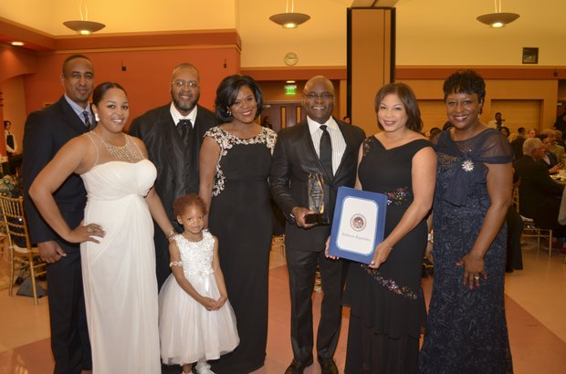(L-R): Michael Lacy (PAB), Supervisor Josie Gonzales (SB County 5th District), Ta Lese Morrow (IVN Co-Publisher), Bernard & Shirley Kinsey (Honorees), Juanita Dawson (PAB chairperson)