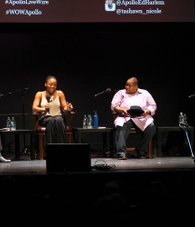 Three generations of Reagons (L to R), Tashawn Reagon, Toshi Reagon and Bernice Johnson Reagon, spoke at Apollo.