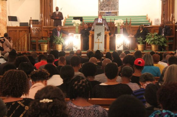 Hundreds packed the First African Methodist Episcopal Bethel church in Harlem Wednesday night to memorialize the nine people who were ...