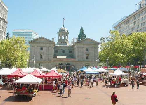 Local farmers, food producers and hot food vendors from all over the region fill Pioneer Courthouse Square, Portland's downtown living ...