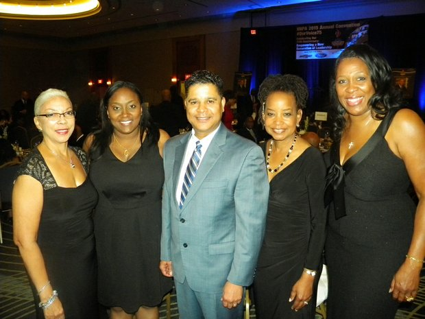 L-R   Janis Ware, Publisher, Atlanta Voice; Shannon Williams, President/General Manager, Indianapolis Recorder; Francis Page, Publisher/Editor, Houston Style Magazine; Denise Rolark Barnes, Publisher, Washington Informer and  Karen Carter Richards, Publisher, Houston Forward Times were elected as new board members of National Newspaper Publishers Association (NNPA) Association Board at the 2015 NNPA Annual National Convention held at the Detroit Marriott at the Renaissance Center, 400 Renaissance Dr., Detroit, Mich.