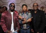 "Diddy, Pharrell Williams and Forest Whitaker at the premier of the indie film ""Dope"" at the LA Film Festival recently."