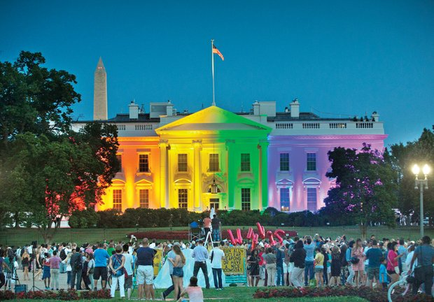 The White House is illuminated last Friday with rainbow colors in commemoration of the Supreme Court's ruling legalizing same-sex marriage nationwide.