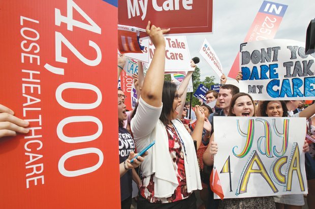 Supporters of the Affordable Care Act cheer the 6-3 decision last Thursday that upheld the crucial subsidies in President Obama's health care law that makes health insurance affordable for millions of Americans.
