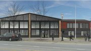 Artist's rendering of what the old trolley barn building in downtown Plainfield will look like when extensive renovation work is completed.