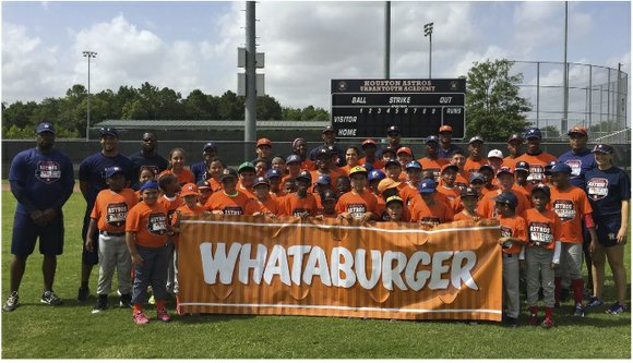 The Houston Astros and Whataburger partnered to hold a youth baseball clinic today at the Astros Urban Youth Academy, located ...