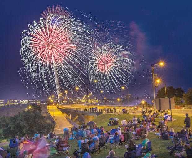 FIREWORKS OVER RICHMOND -Thousands of spectators gathered to see the skies painted in spectacular colors last Friday at the city's annual fireworks show at Brown's Island in Downtown.