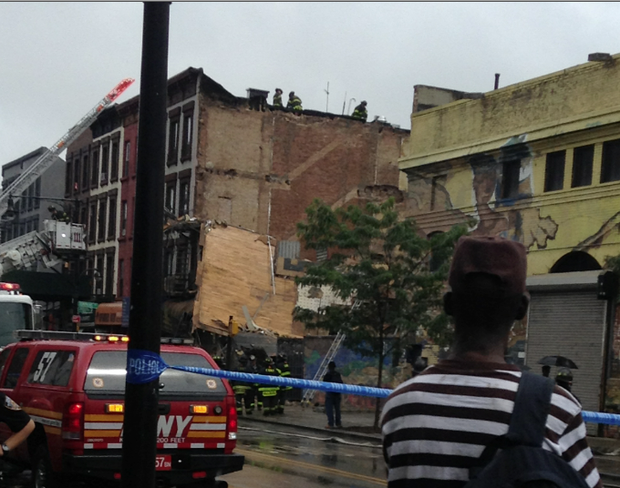 Building collapse in Bed-Stuy near Tompkins Street and Fulton Street