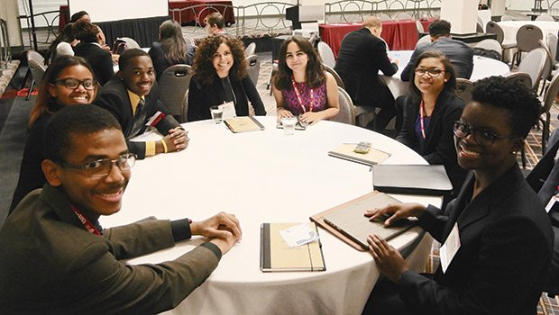 College students from around the U.S. participating in the Careers In Transportation for Youth summer internship program enjoyed a chance to talk with each other between sessions at this week's COMTO conference in Boston.