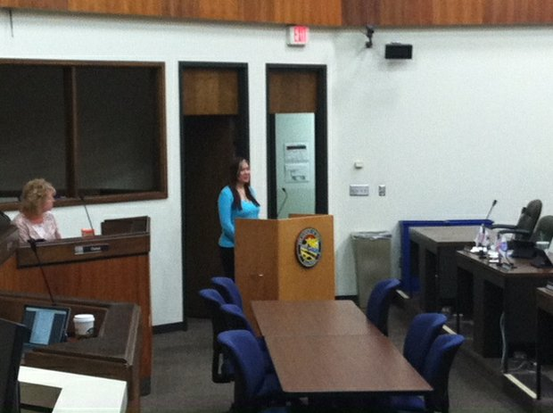 Ramona Ennabe, who runs Ennabe Logistics in Wilmington, addresses the Will County Board on Thursday.