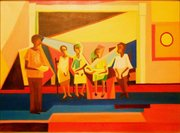 "Painting by Norman Parish, Jr. entitled the ""Naming Ceremony,"" which depicts a naming ceremony held at Abena Joan Brown's South Side apartment."