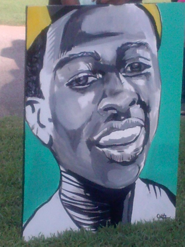 Painting of the late Darrius Stewart done by artist Jamond Bullock. (Photo: Brittney Gathen).