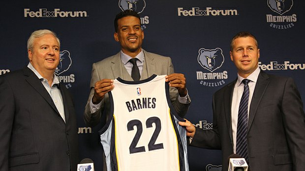Meet the New Grizzly: Team GM Chris Wallace (left) and Head Coach Dave Joerger (right) introduce Matt Barnes at a press conference on Tuesday at FedExForum. (Photo by Lee Eric Smith)