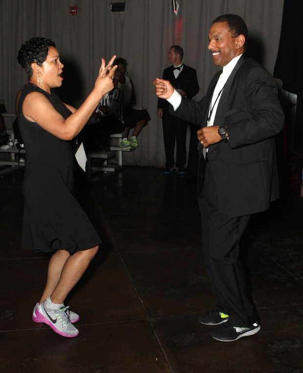 WMC Action 5 News' Janeen Gordon (left) and WMC Action 5 News Sports Director Jarvis Greer hit the dance floor.