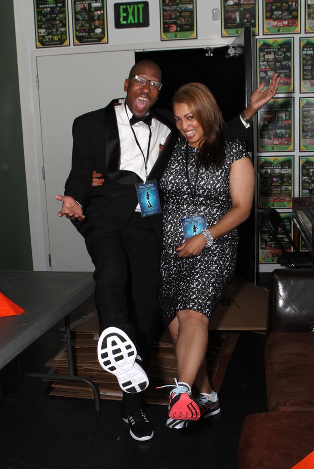 WMC Action 5 news radio personality Kontji Anthony-Hendricks and her husband, Patrick, show off their gym shoes at the SportsBall courtesy of Nike.