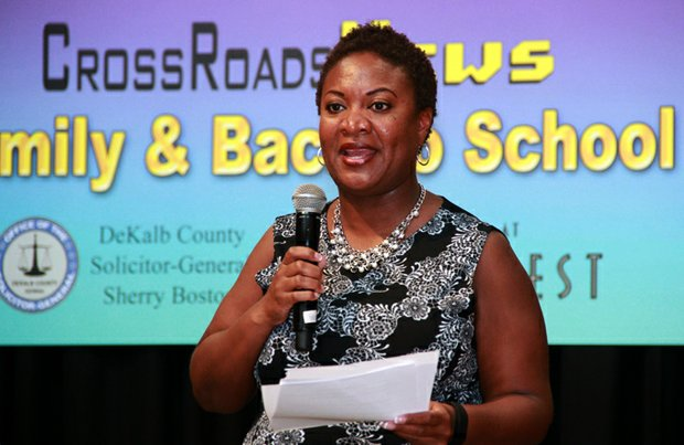 Keisha Storey, one of four judges recently appointed to the new DeKalb State Court Traffic Division, spoke on behalf of DeKalb Solicitor-General Sherry Boston.