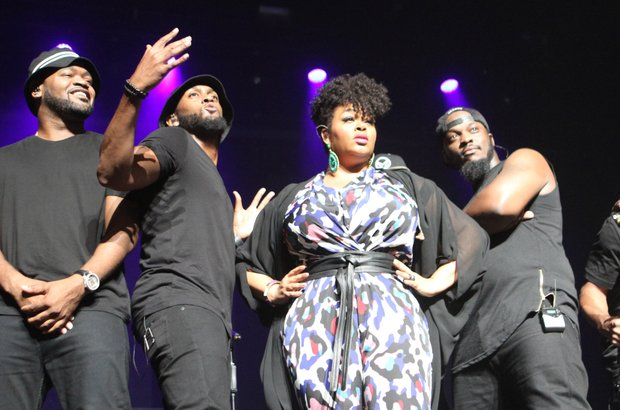 Jill Scott pauses and then strikes a pose the band during her performance at the Orpheum Theatre in Downtown Memphis on Tuesday night (Aug. 4). (Photo: Warren Roseborough)