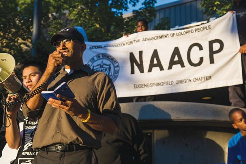 The president of an NAACP chapter contends Eugene police used excessive force on his sister after she tried to stop ...