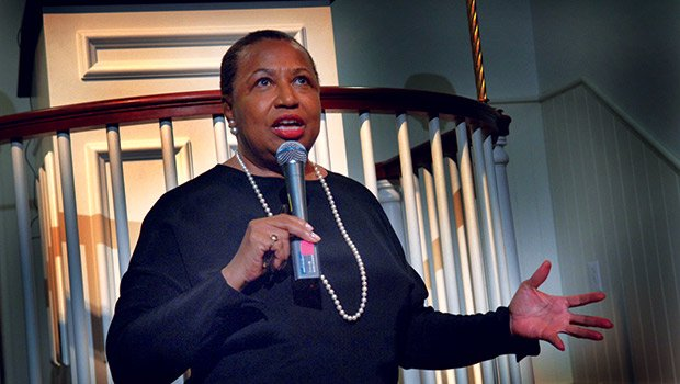 The Honorable Carol Moseley Braun, former U.S. Senator, gave an impassioned talk about the Civil Rights struggle, at the Millennium Conversation and Town Hall meeting, held at the Museum of African American History on Beacon Hill, in celebration of the 50th anniversary of the Voting Rights Act. Joinging in presentations were Susannah Heschel, scholar; Beverly Morgan-Welch, MAA; Dr. Keith L. Magee, SJI; Ken Cooper, writer; Cheryl C. Crawfrod, MassVote; Michael Curry, NAACP; Avi Green, MA Ballot Law; Ra-Shaan Hall, Lawyers Committee; and Kevin Peterson, New Democracy.
