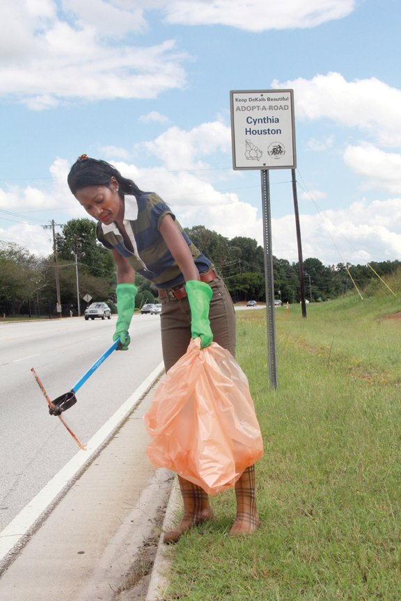 Cynthia Houston spends 10 or more hours a week, every single week, voluntarily picking up other people's trash.
