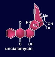 The chemical structure of uncialamycin, a compound found in nature and synthesized by Rice University synthetic chemist K.C. Nicolaou, is one target of a new method to simplify the manufacture of drugs and other compounds. The method is based on modifying the central three-ring structure at the bottom, known as an anthraquinone. (Credit: Courtesy of K.C. Nicolaou/Rice University)