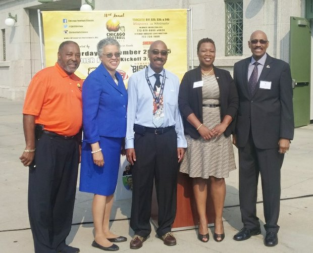 L-R Chicago Football Classic co-founder Larry Huggins; Cook County Board President, Toni Preckwinkle; Chicago Football Classic co-founder Everett Rand; Shelley Davis, Interim Athletic Director, Howard University and Floyd Kerr, Athletic Director, Morgan State University.