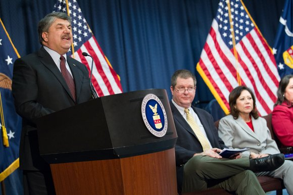 AFL-CIO President Richard Trumka took President Donald Trump to task again. This time, it's over his declaration of a national ...