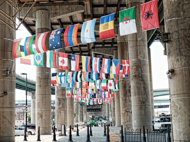 The flags of 83 countries — from Algeria to Venezuela — are on display in Shockoe Bottom in honor of the international cyclists coming to race on the streets of Richmond and nearby localities later this month. Location: Near 15th and East Main streets in the parking lot across from Main Street Station. The flags represent the many nations likely to send riders. The flags are lashed to concrete pillars that support the Interstate 95 overpass. They will serve as a backdrop for race-related events at the train station, the city said. The start-finish line for many of the cycling contests will be on Broad Street at the Greater Richmond Convention Center, which also will provide a major gathering area for fans. The city said world flags also will be on display on Broad Street during the opening ceremony Sept. 18. The UCI Road World Championships are set to run Sept. 19 through 27. Richmond is the first U.S. city to host the races in 29 years.