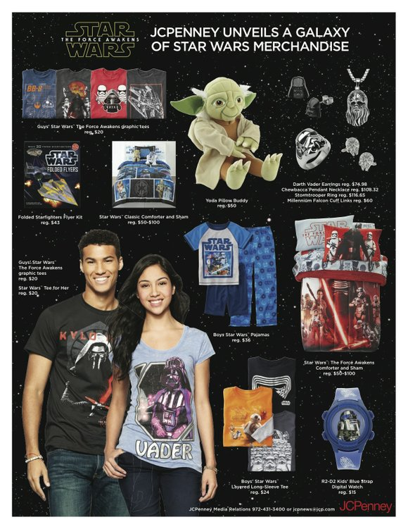 Starting today, Star Wars fans will be descending on JCPenney stores across the country to take advantage of all-new Star ...