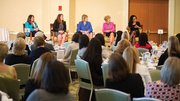 Women in Workplace Panel held during a May GBCC Women's Network breakfast, left to right: Victoria Budson, Executive Director, Women and Public Policy Program, Harvard KSG; Megan Costello, Executive Director, Office of Women's Advancement, City of Boston; Cathy Minehan, Dean, Simmons School of Management; Evelyn Murphy, President, The WAGE Project, Inc.; Beth Williams, President & CEO, Roxbury Technology, LLC