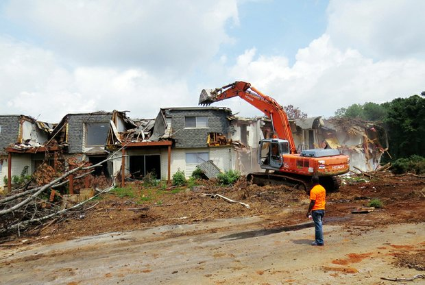 The old Kensington Manor Apartments on Mountain Drive are being demolished to make way for the $120 million Avondale Hills project.