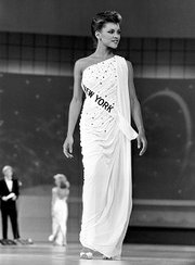 Vanessa Williams appears at the 1984 Miss America competition in Atlantic City, New Jersey.