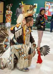 Students and community members joined in a ceremonial dance of the Piscataway Conoy Tribe of Southern Maryland during an event College of Southern Maryland La Plata Campus.