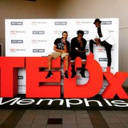 """""""Arts and Entrepreneurship in Memphis: From Hobbyist to Lobbyist"""" was Marco Pavé's TedX Talk. Also pictured (l-r) are DJ Wyzlyfe and Pavé's producer, Kenny Wayne. (Photo: Zandria Felice Robinson)"""