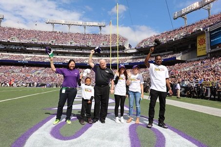 Governor Larry Hogan attended the Baltimore Ravens home opener against the Cincinnati Bengals, along with four children who are also ...