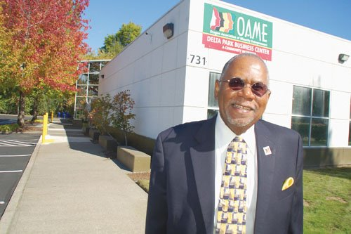 Sam Brooks, founder of the Oregon Association of Minority Entrepreneurs, outside the organization's new Delta Park Business Center building in the Hayden Meadows business district of north Portland.