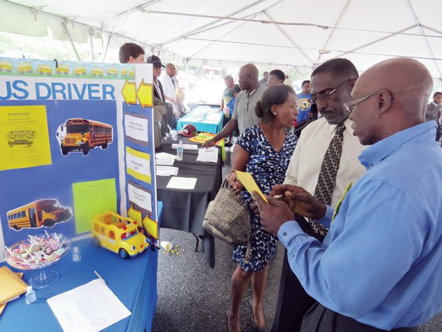The DeKalb School District was recruiting bus drivers and monitors at the Sept. 26 job fair at the South DeKalb mall.