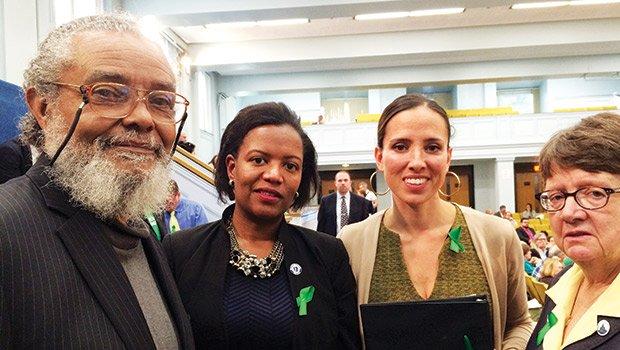 State Rep. Byron Rushing, Sens. Linda Dorcena Forry and Sonia Chang Diaz and Rep. Liz Malia at a State House hearing on legislation prohibiting racial profiling.