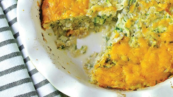 This brown rice and grated zucchini pie, like a quiche without a crust, is a terrific dish to serve for ...