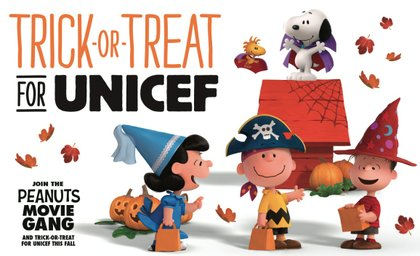 as kids set out with friends and neighbors on a quest for sweet treats and goodwill this halloween they can bring along a new gang the peanuts movie