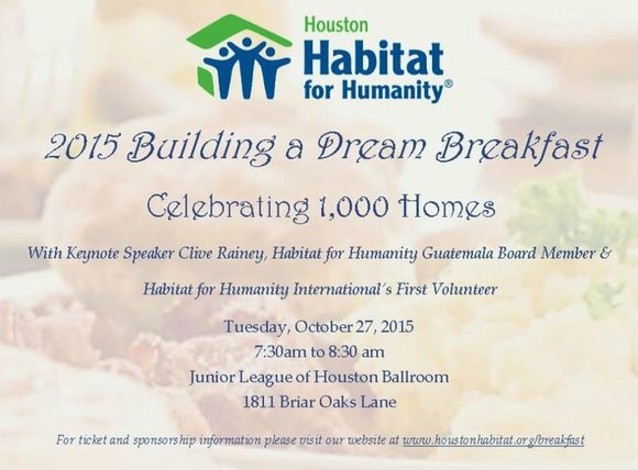 Help Houston Habitat celebrate building 1,000 homes and join us at the 2015 Building a Dream Breakfast & Affordable Housing ...
