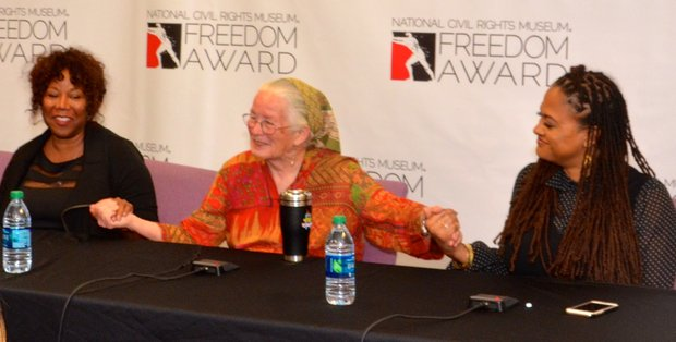 The 2015 Freedom Awards nominees – (l-r) Ruby Bridges Hall, Joan Trumpauer Mullholland and Ava DuVernay – shared thoughts at a press conference before the Public Forum. (Photo: Tyrone P. Easley)