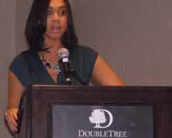 Baltimore City State's Attorney Marilyn Mosby delivers a keynote speech to help honor domestic violence survivors.