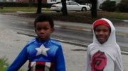 Elisha Jones, 7, and Daniel Jones, 6, enjoy Halloween in Robbins. The two boys lost their parents in a fatal car crash.