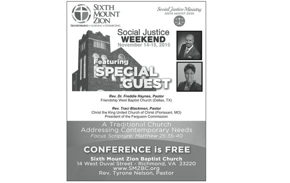 "Sixth Mount Zion Baptist Church in Jackson Ward is hosting a ""Social Justice Weekend"" Saturday, Nov. 14, and Sunday, Nov. ..."